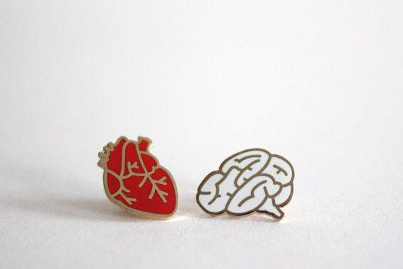 Heart & Brain Enamel Pin Badges, Lapel Pin Brooches, Set of Two pins, Red White Hard Enamel, RockCakes, Brighton, UK