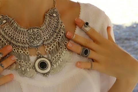 Otantik Siyah Taşlı Yüzük, Ayarlanabilir / Antik Gümüş, Yüzük, Takimania - 1