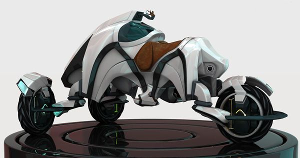 Equestrian Inspired Trike    The Saddle concept vehicle merges futuristic styling, modern power technology, & equestrian influence into a go-anywhere electric three wheeler designed to tackle the roughest terrain.