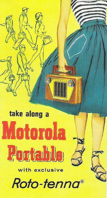 Motorola transistor radio vintage ad, 1950's