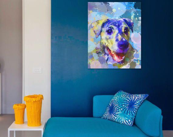 Watercolor dog portrait Custom dog painting Custom dog wall