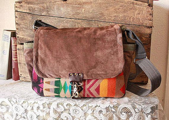 Camera bag DSLR /Messenger made with Pendleton Oregon Fabric & Leather /Suede //Upcycled--Ready To Ship-- on Etsy, Sold