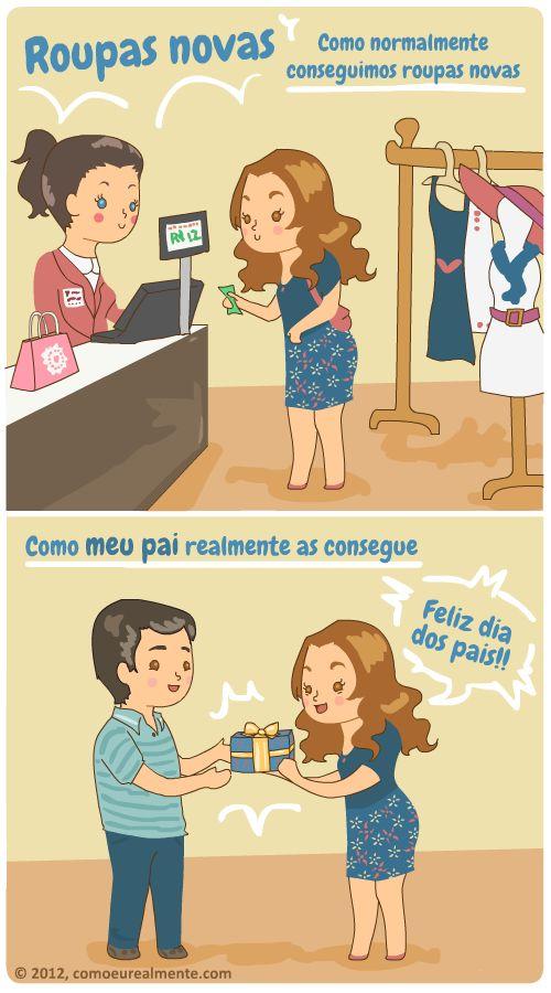 """Aí ele diz """"Que camisa bonita!"""" antes mesmo de abrir a caixa.        Feliz dia dos pais a todos os papais por aí (seja de humanos, bichinhos ou personagens de jogos online)!!       w2bPinItButton({   url:""""http://www.comoeurealmente.com/2012/08/roupas-novas.html"""",   thumb: """"http://2.bp.blogspot.com/-9BO63y3i1m8/UCZrCtF7ZZI/AAAAAAAAA4E/i8bPES4vjow/s72-c/tirinha111.png"""",   id: """"8475429524502609544"""",   defaultThumb…"""