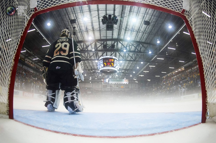 London Knights goalie Michael Houser stands in front of his net during their round-robin Memorial Cup ice hockey game in Shawinigan, Quebec.