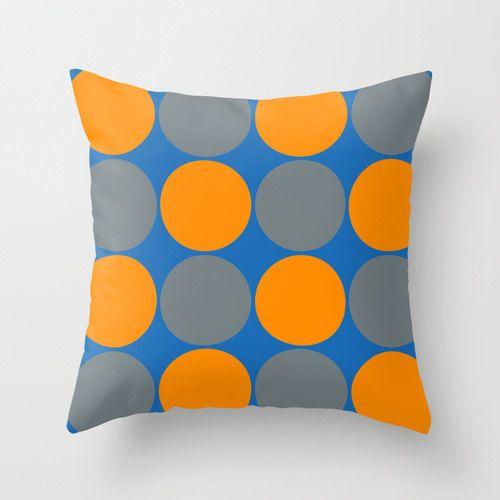 Almohada azul naranja - vivero almohada - funda de Almohada Mod - moderna almohada cubierta - círculos almohada cubierta - cubierta de la almohadilla Fun