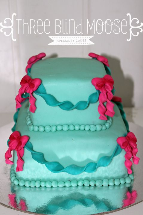 Mini Birthday Cake For Girl Teal Aqua And Pink By