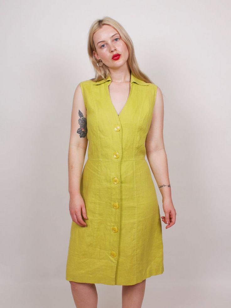 Graceland Collection Vintage Chartreuse 100% Linen Sun Dress