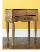 Old crate + old table legs = rustic side table ... and as luck would have it, I just trashpicked four table legs ...
