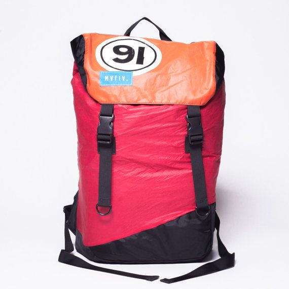 Discover Pack - Reuse Recycle Sails Red Orange Urban Backpack, Desing Stilish, Outdoors, Water resistant, Made in USA, Unique, One of a Kind
