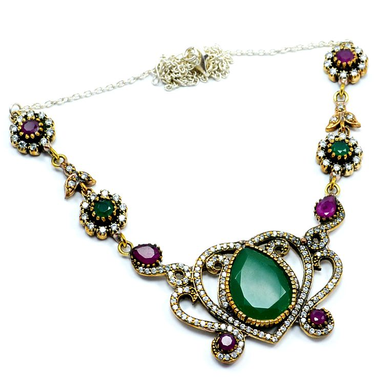 Silvesto India Ruby, emerald And White Topaz (Lab) 925 sterling silver & bronze pendant necklace for women pg-7131  https://www.amazon.de/dp/B01H5BY192