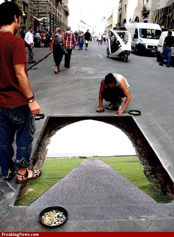 Sidewalk Art  It's an entrance to Narnia!!!!!!!