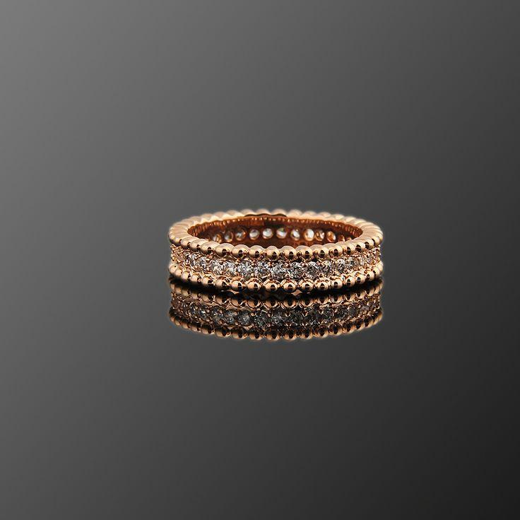 Bant Yüzük - Avusturya kristali - Swarovski taşlar - Altın kaplama - Aksesuar - Yüzük - Dalya Takı Austrian Crystal - Swarovski stones - Gold plated - Rose gold - Accessory - Ring - Tape Strip