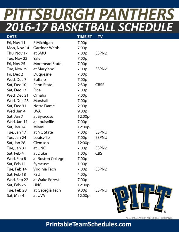 Pittsburgh Panthers Basketball Schedule 2016-17. Print Here - http://printableteamschedules.com/NCAA/pittsburghpanthersbasketball.php