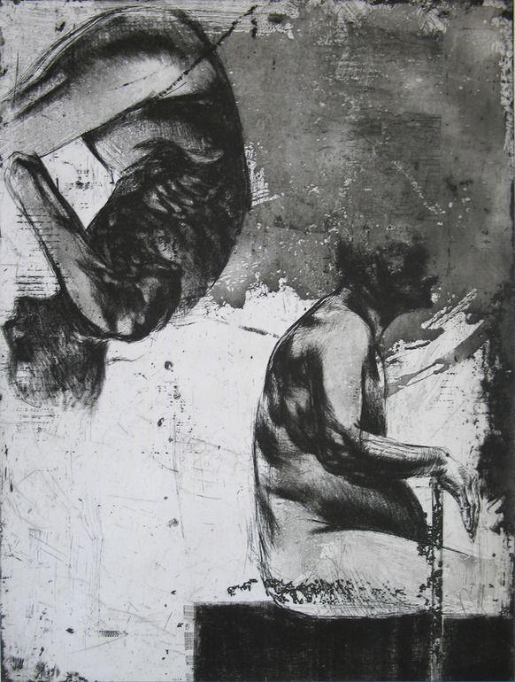 "Saatchi Online Artist: Goce Trajkovski; Etching, Printmaking ""MELANCHOLY"""