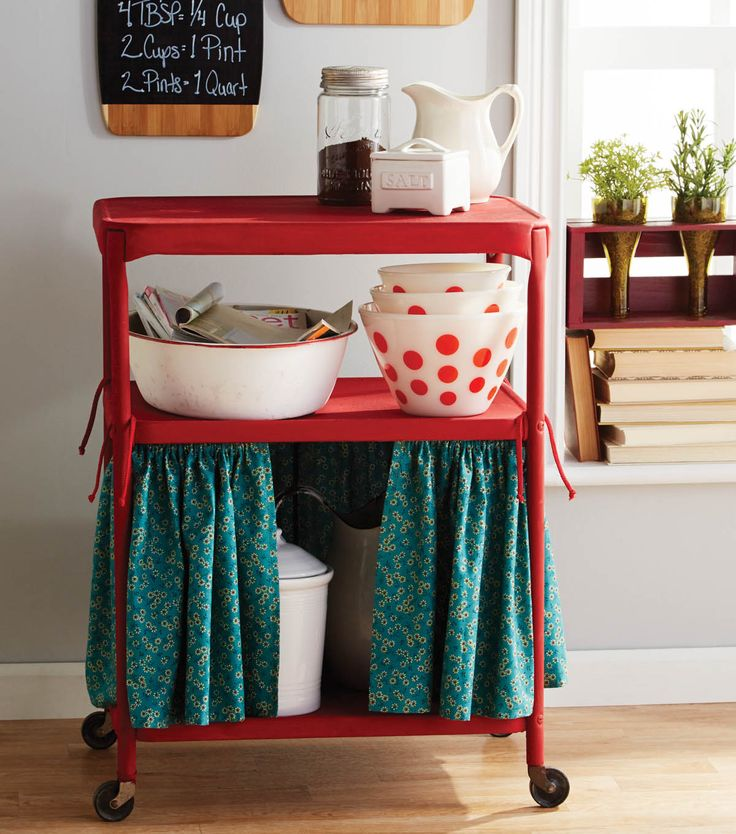 Upcycle an old or thrifted cart into a cute #DIY Kitchen Island. Supplies available on Joann.com