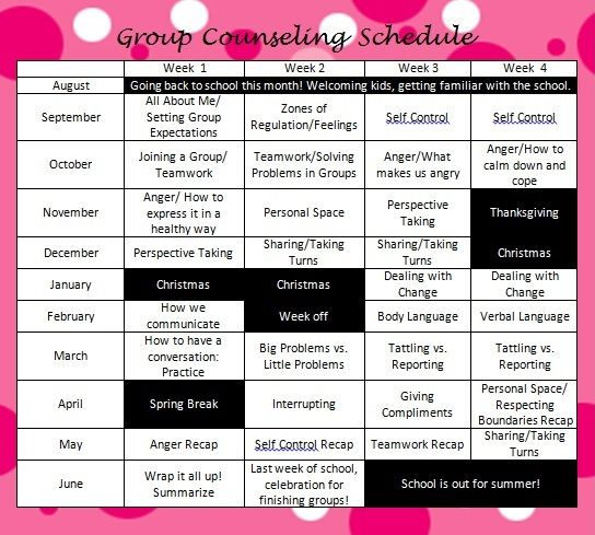 I made this schedule for Social Skills Group Counseling. I work primarily with ED (Emotionally Disturbed) students. I have grades  K-8, and use various lesson plans to tailor it to each grade block (k-3, 4-5, 6-8)