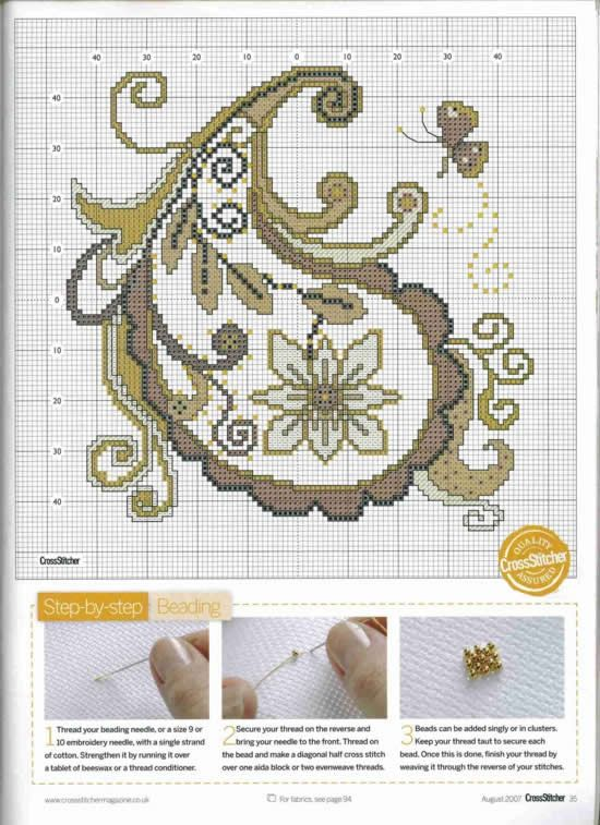 cross-stitched or beaded paisley