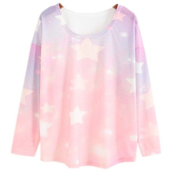 Women's Loose Batwing Sleeve Pastel Tops Tees Pink Star Print (Size M) (£17) ❤ liked on Polyvore featuring tops, t-shirts, pink t shirt, loose t shirt, star t shirt, loose knit top and pastel pink top