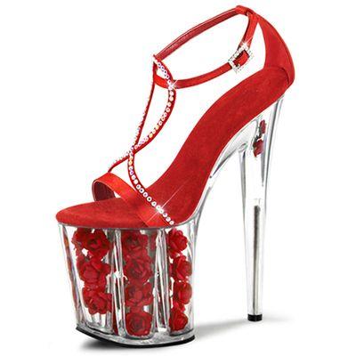Chaussures de mariage rouge Rose plate - forme transparente talons femme Sexy pompes clin strass conception 20 cm haute talons Peep Toe sandales