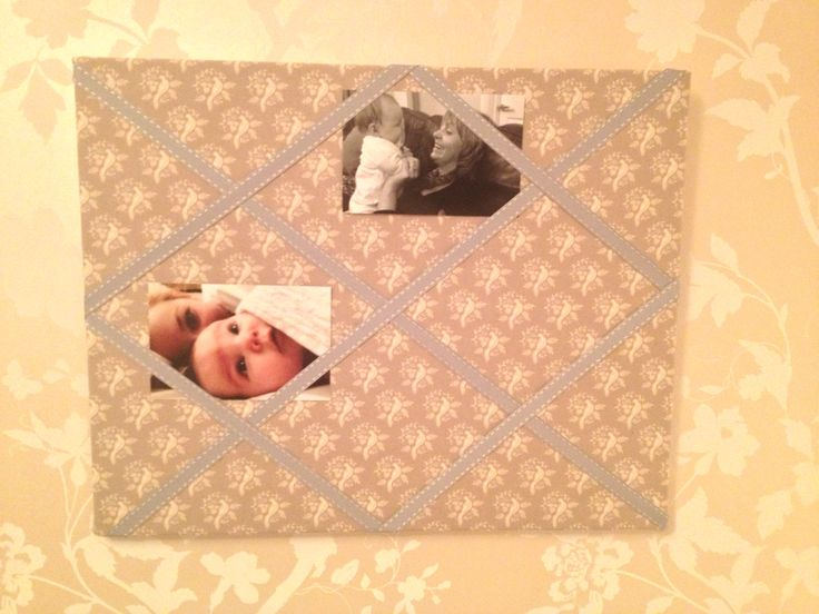 Fabric covered canvas notice board  Tilda fabric and ribbon stretched over box canvas and affixed with drawing pins to display photos ☺