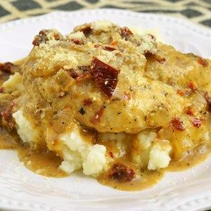 Tender chicken in a savory and creamy sun-dried tomato sauce comes alive in this Italian-inspired dish. Served on top of Idahoan Signature™ Russets Mashed Potatoes this recipe is something your whole family will enjoy!  Allrecipes.com