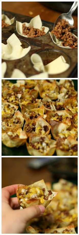 Mini Tacos Step 1: cook 1 lb ground beef & season w/ taco seasoning. Step 2: use non-stick spray on muffin tin & place wonton wrappers in muffin tin. Step 3: fill uncooked wontons with beef & top with shredded cheese Step 4: bake @350 for 8 minutes