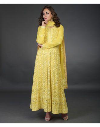c929369f71 Sunglow Yellow Chikankari With Kamdani Pure Georgette Anarkali Suit ...