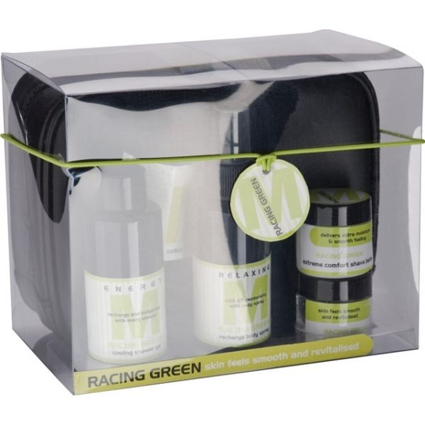 5-piece bath set with toilet bag in a transparent packaging RACING GREEN mens range – consists of body spray, shower gel, shaving balm and shaving gel in a fresh acerb scent. Supplied with a PU toiletry bag and a face towel.   Product size 19 x 15 x 12 Branding size 4 x 1,8