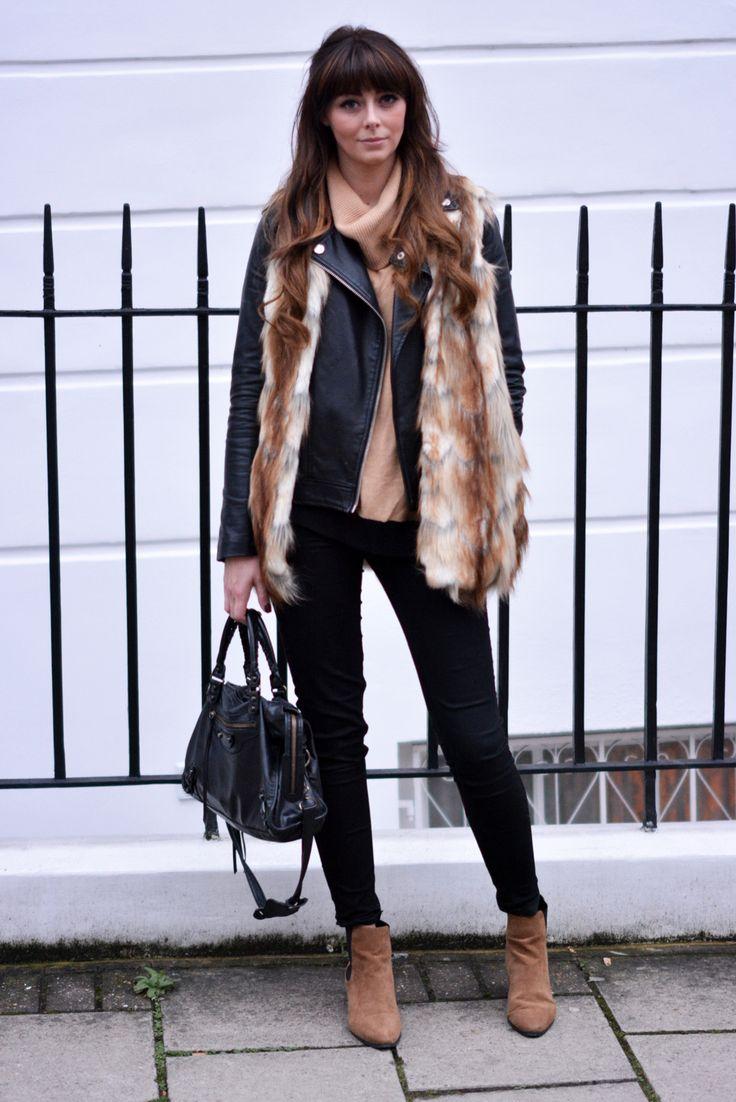 EJSTYLE - River Island Faux Fur gilet, camel sweater, biker jacket, black skinny jeans, Balenciaga city bag, River Island camel ankle boots