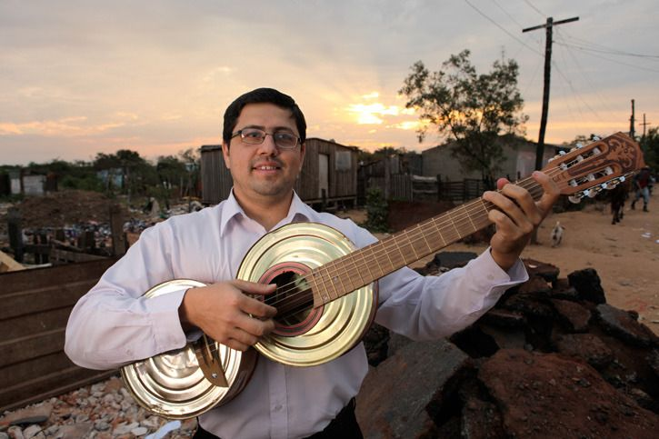Photo: Courtesy of Landfill Harmonic. Favio Chavez. A Paraguayan garbage collector and a recycler joined forces to recycle lives in one of the poorest communities in the world. Over 2,500 families live on top of a landfill in the Cateura slum in Asunción, the capital of Paraguay. #BeautifulNow! #recycle #Paraguay #music