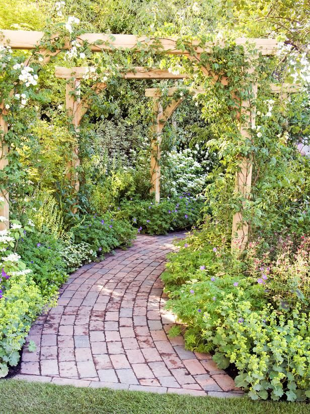This rustic pergola, laced with roses and honeysuckle, welcomes visitors.