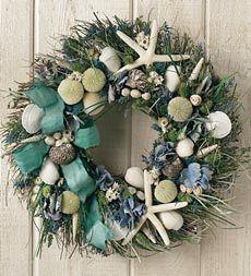 Tropical christmas wreath decorations, Seashell Wreaths, Cheap Sea Shell Wreath