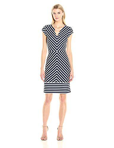 Sharagano Women's Cap Sleeve Stripe Dress: Cap sleeve, v-neck, textured  stripe sheath dress that's perfect for work