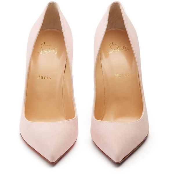 Christian Louboutin Pigalle Follies 100mm suede pumps ($675) ❤ liked on Polyvore featuring shoes, pumps, heels, floral print pumps, special occasion shoes, pink suede pumps, christian louboutin shoes and evening shoes