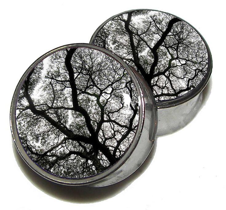 Tree Silhouette Plugs  1 Pair  Sizes 8g to 2 by PlainJanePlugs, $19.95