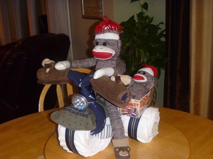 Motorcycle Diaper Cake With Sidecar