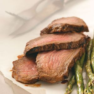 Marinated Chuck Steak: red wine vinegar, soy sauce, lemon juice, brown sugar, garlic, onion