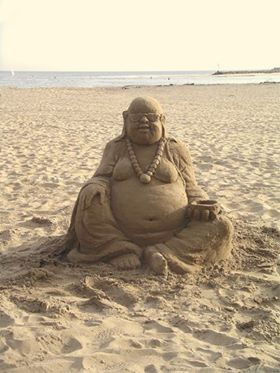 Sand Buddha. Now when is the last time you stepped over one of these at the beach?