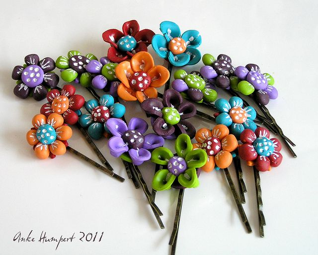 free flower hairpin tutorial. polymer clay.