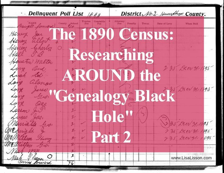 1890 Census: Research Researching Around the Genealogy Black Hole