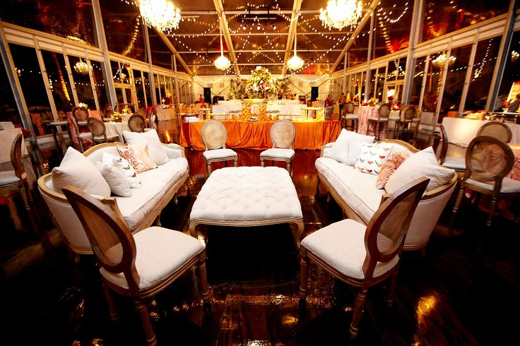 """Southern Chic"" themed party inside a lucite tent"