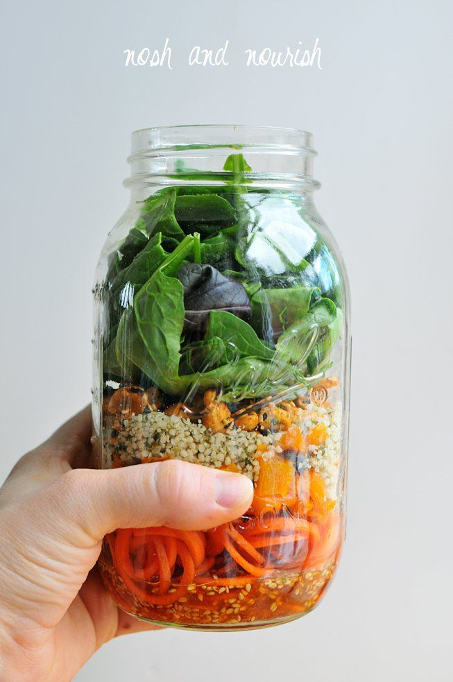 Mason Jar Carrot Noodle Salad w/Sweet Chili Vinaigrette -- a perfect, healthy lunch to take to work! // via Nosh and Nourish