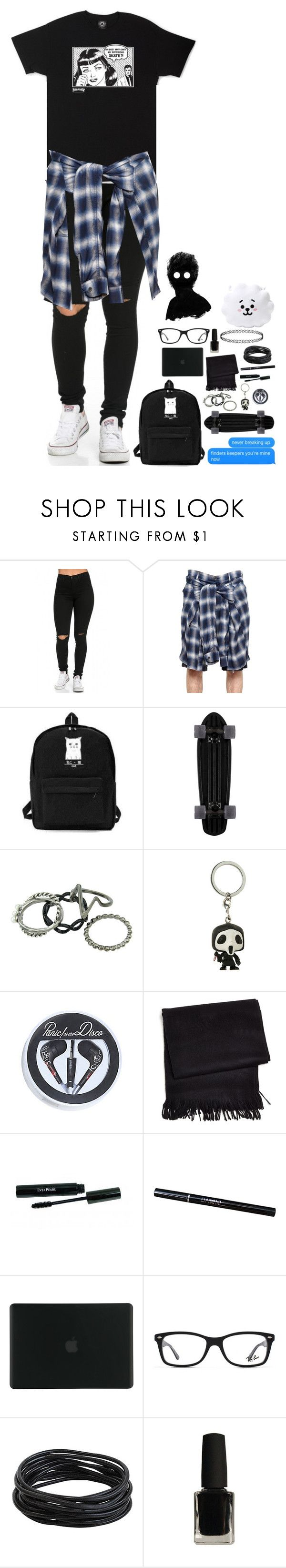 """""""Oh god why can't my boyfriend skate?"""" by xxghostlygracexx ❤ liked on Polyvore featuring Maison Mihara Yasuhiro, Funko, Hot Topic, Frette, Tucano, Ray-Ban and Pillow Perfect"""