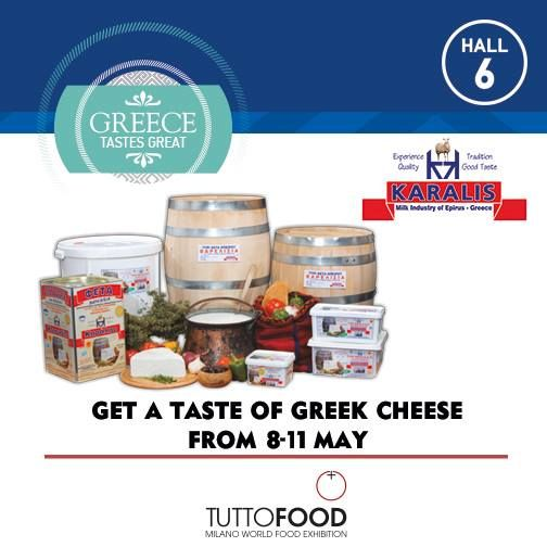 Get a taste of Greek cheese in Tutto Food 2017 8-11 May! Hall 6, stand KARALIS, A COMPANY orginated from the decanting of the cheese / dairy which operated in Petra, Preveza for more than 50 years! #greecetastesgreat #greekparticipationtuttofood2017 #tuttofood2017 #tuttofood #karalis  http://www.karalis.gr/index.php?option=com_content&view=article&id=11&Itemid=4&lang=en