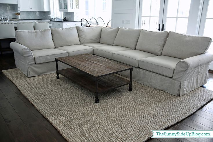 Sunny Side Up: Family Room Decor Update! Pottery Barn's chunky wool/jute rug - loving it!