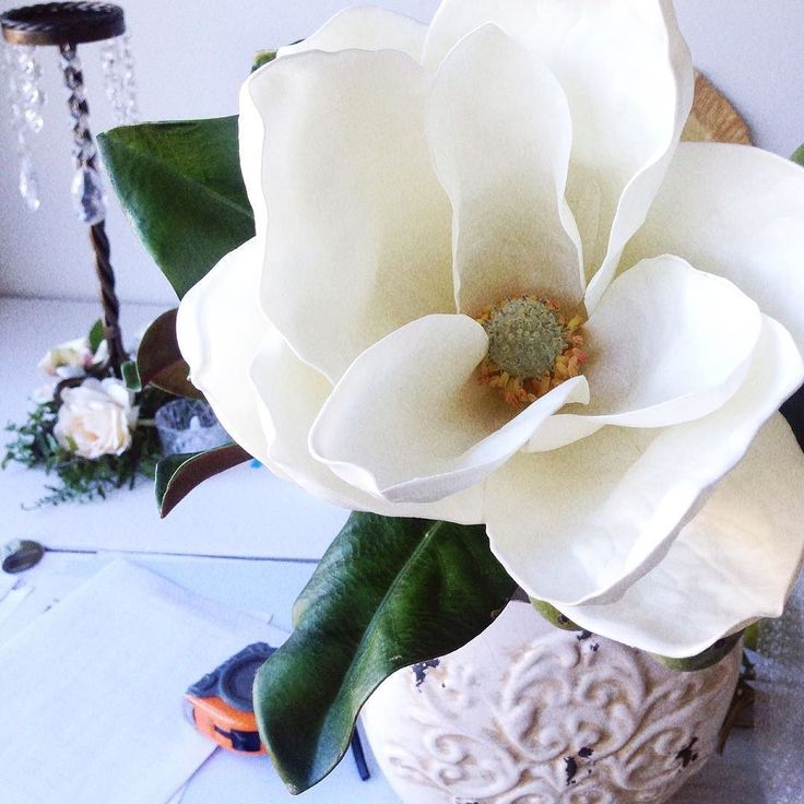 Have loved having these faux magnolia flowers on my work bench for a custom order. #fabfaux