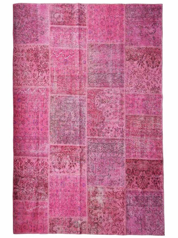 Vintage patchwork vloerkleed roze