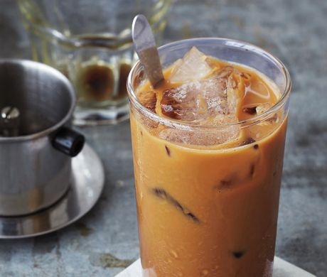 Vietnamese Ice Coffee Recipe at Epicurious.com. I love the iced coffee at Saigon surface... Maybe I will make at home, but need a new coffee tool :)