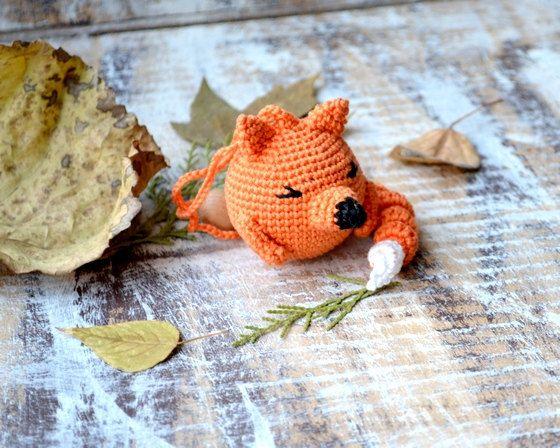 Hochet de bébé animal Toy Fox forêt boisées au Crochet, animaux sauvages animaux Orange noir blanc vert couleur d'automne