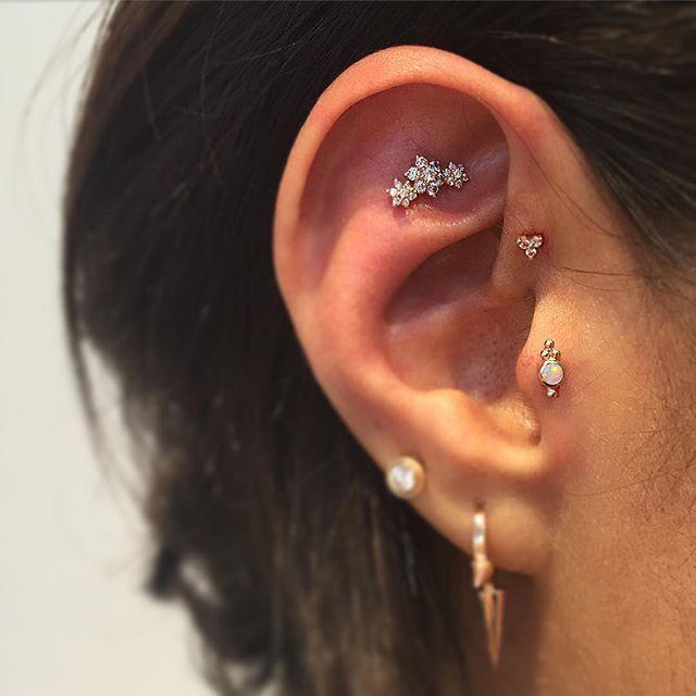 Fresh tragus, forward helix and Tash rook on a lovely client Beautiful diamond g…